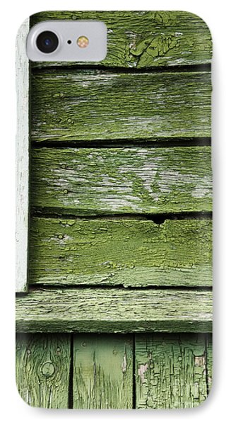 IPhone Case featuring the photograph Green Wooden Wall by Agnieszka Kubica