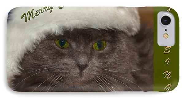 Grey Cat Santa 2 Phone Case by Joann Vitali