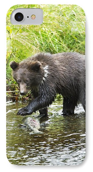 Grizzly Cub Catching Fish In Fish Creek Phone Case by Richard Wear