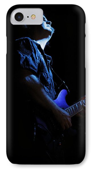 Guitarist In Blue IPhone Case by Rick Berk