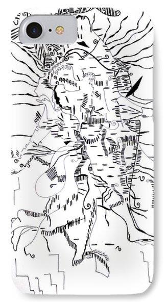 IPhone Case featuring the drawing Gule Wamkulu - Malawi by Gloria Ssali