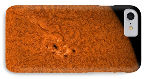 H-alpha Sun In Orange With Active Area Phone Case by Rolf Geissinger