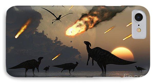 Hadrosaurs Graze Peacefully As Burning IPhone Case by Mark Stevenson