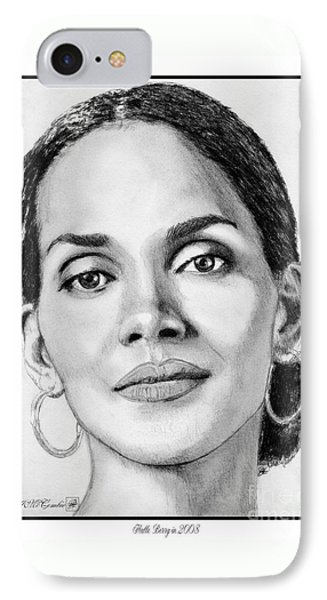 IPhone Case featuring the drawing Halle Berry In 2008 by J McCombie