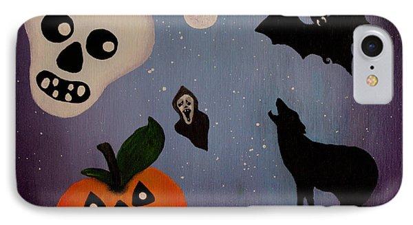 Halloween Night Original Acrylic Painting Placemat Phone Case by Georgeta  Blanaru