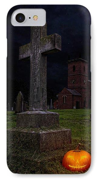 Halloween Pumpkin In Cemetery IPhone Case by Amanda Elwell