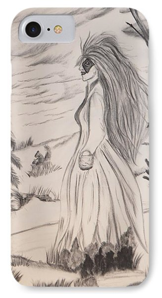 IPhone Case featuring the drawing Halloween Witch Walk by Maria Urso