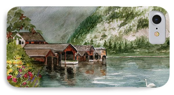 IPhone Case featuring the painting Hallstatt In The Spring  by Nancy Patterson