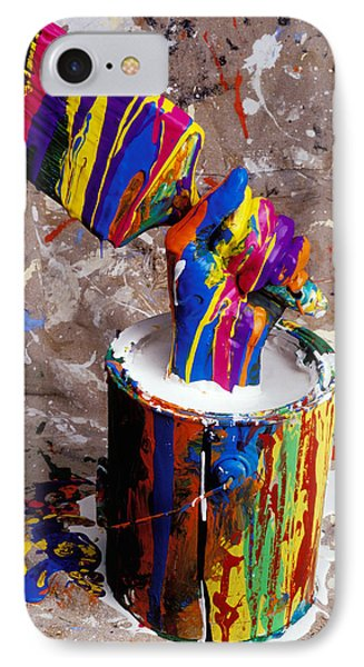 Hand Coming Out Of Paint Bucket Phone Case by Garry Gay