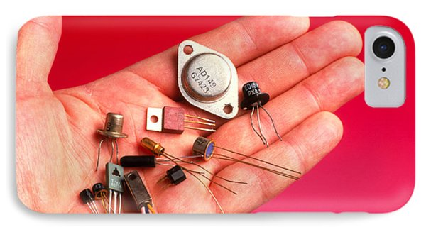 Hand Holds Transistors From The 1960s To 1990s IPhone Case