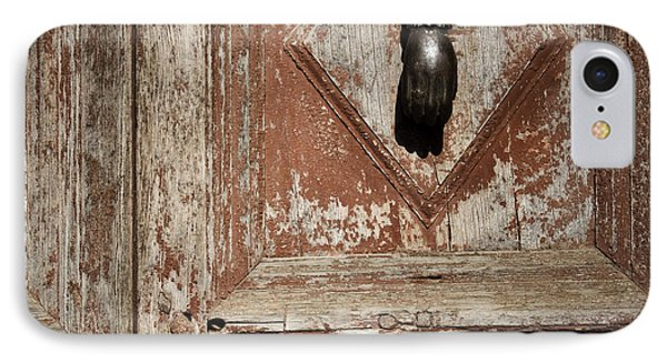 IPhone Case featuring the photograph Hand Knocker And Weathered Wooden Doors by Agnieszka Kubica