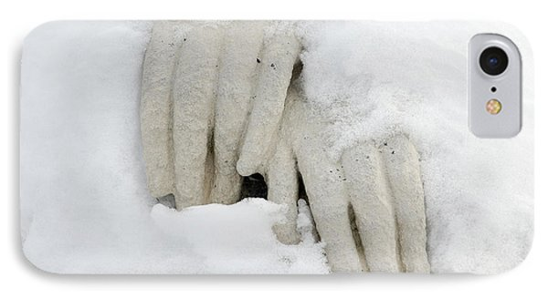 Hands Of A Statue Covered With Snow Phone Case by Matthias Hauser