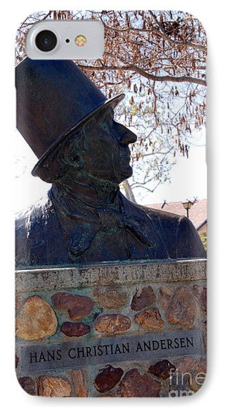 Hans Christian Andersen Statue In The Park In Solvang California Phone Case by Susanne Van Hulst