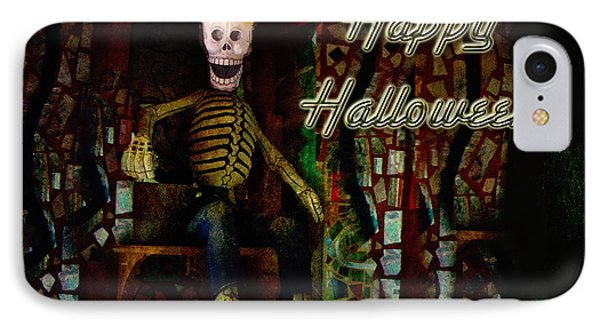 Happy Halloween Skeleton Greeting Card Phone Case by Mother Nature