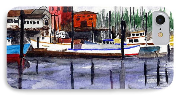 IPhone Case featuring the painting Harbor Fishing Boats by Chriss Pagani
