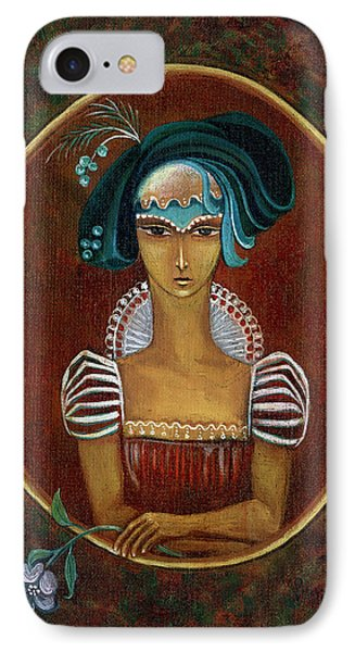 Hat Dream Fantasy Woman Face With Dramatic  Blue Hat Old Style Red Dress With White Lace Sleeves  IPhone Case by Rachel Hershkovitz