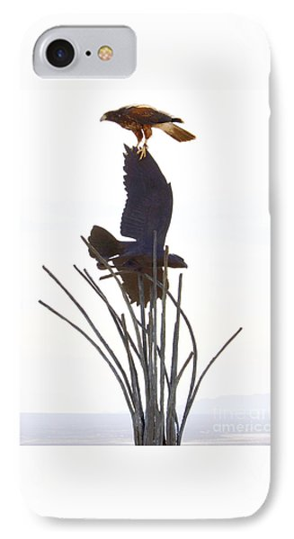 IPhone Case featuring the photograph Hawk On Statue by Rebecca Margraf