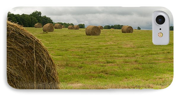 Haybales In Field On Stormy Day Phone Case by Douglas Barnett