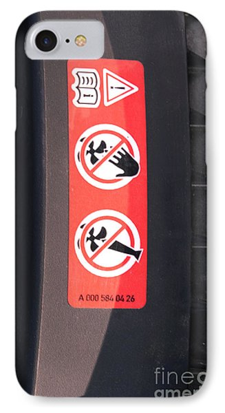 Hazard Warning Sticker Phone Case by Photo Researchers