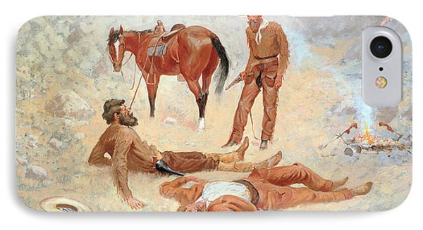 He Lay Where He Had Been Jerked Still As A Log  Phone Case by Frederic Remington