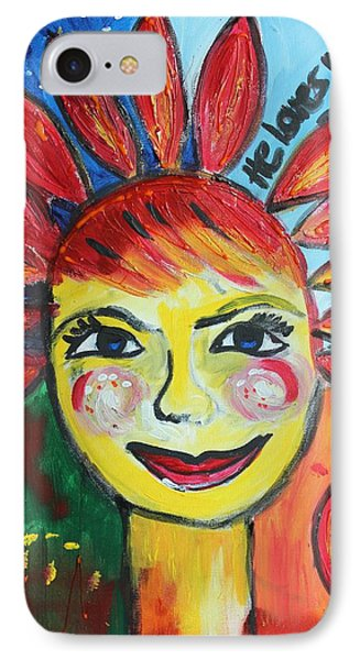 IPhone Case featuring the painting He Loves Me  by Sladjana Lazarevic