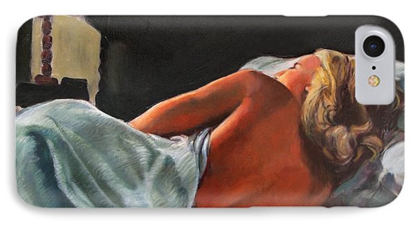 He Snuck Out Of Bed Phone Case by Mona Davis