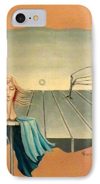 Head In Wind Surrealistic Frame Boards Tree And Hair Waving In Wind Beige Blue Grey Phone Case by Rachel Hershkovitz