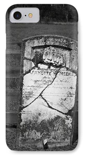 Headstone Of Lafayette Meeks IPhone Case by Teresa Mucha