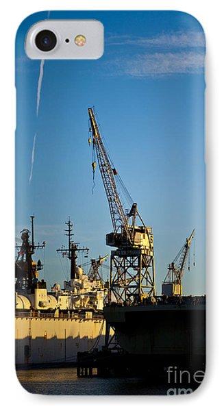 Heavy Equipment Cranes At Drydock Phone Case by Eddy Joaquim