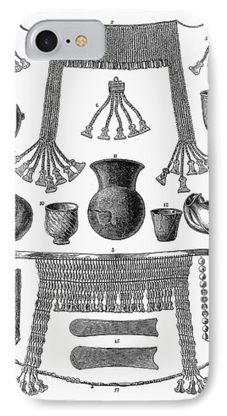 Heinrich Schliemann (1822-1890). German Traveller And Archeologist. Some Of The Antiquities Excavated By Schliemann At Hissarlick, Turkey, Site Of Ancient Troy. Wood Engraving, English, 1877 Phone Case by Granger