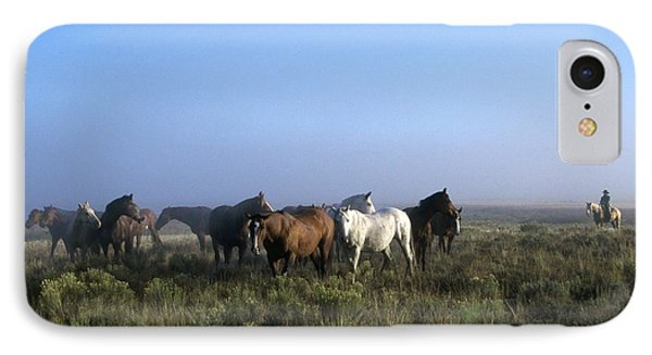 Herd Of Horses And Cowboy On Horseback Phone Case by Natural Selection Craig Tuttle