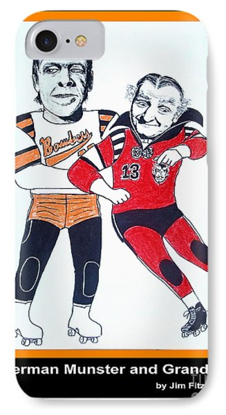 Herman And Grandpa Munster Playing Roller Derby Phone Case by Jim Fitzpatrick