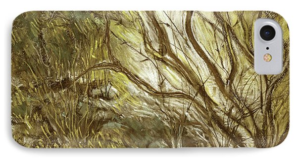 Hideaway Plants In Brown Yellow And Green Branches Leaves Trunks Stones Phone Case by Rachel Hershkovitz