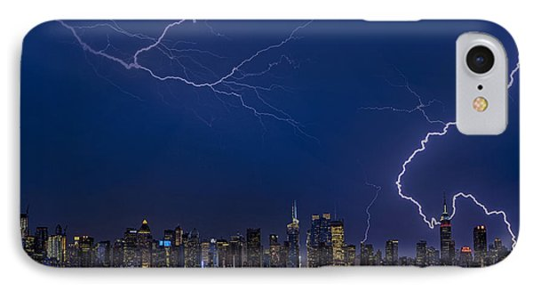 High Voltage In The  New York City Skyline Phone Case by Susan Candelario