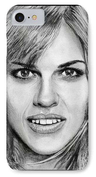IPhone Case featuring the drawing Hilary Swank In 2007 by J McCombie