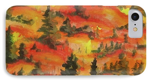 Hills Of Fire IPhone Case by Becky Chappell