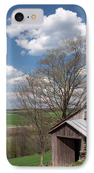 Hillside Weathered Barn Dramatic Spring Sky Phone Case by John Stephens