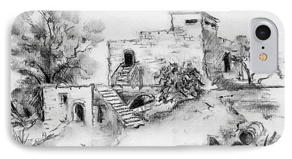 Hirbe Landscape In Afek Black And White Old Building Ruins Trees Bricks And Stairs IPhone Case by Rachel Hershkovitz