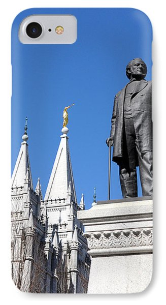 Historic Salt Lake Mormon Lds Temple And Brigham Young IPhone Case by Gary Whitton