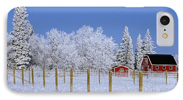 Hoarfrost On Trees Around Red Barns Phone Case by Mike Grandmailson