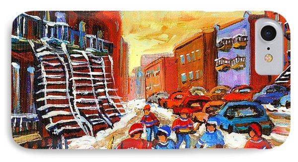 Hockey Art Kids Playing Street Hockey Montreal City Scene Phone Case by Carole Spandau
