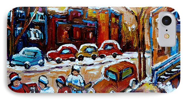 Hockey Art Montreal Staircases In Winter Phone Case by Carole Spandau