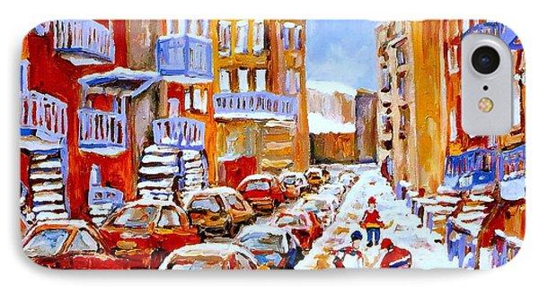 Hockey Art Streets Of Montreal Hockey Paintings Phone Case by Carole Spandau