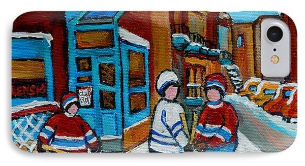 Hockey Game Corner Clark And Fairmount Wilenskys Paintings Phone Case by Carole Spandau