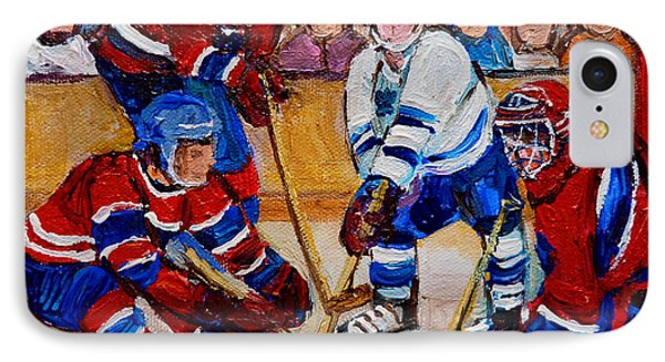 Hockey Game Scoring The Goal Phone Case by Carole Spandau