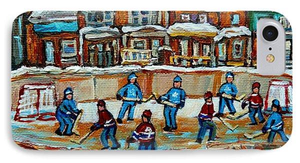 Hockey Rink Montreal Street Scene IPhone Case by Carole Spandau