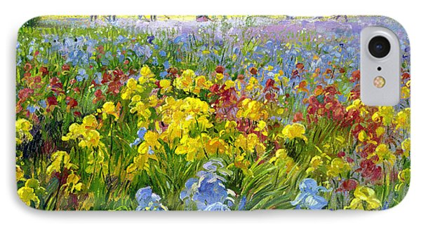Hoeing Team And Iris Fields Phone Case by Timothy Easton