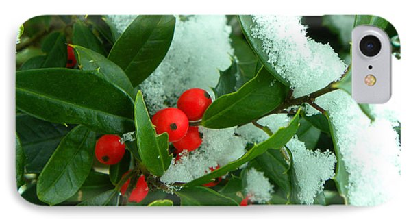 Holly In Snow Phone Case by Sandi OReilly