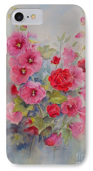IPhone Case featuring the painting Hollyhocks And Red Roses by Beatrice Cloake