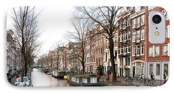 IPhone Case featuring the digital art Homes Along The Canal In Amsterdam by Carol Ailles